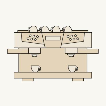 Zeichnung einer Gastrokaffeemaschine
